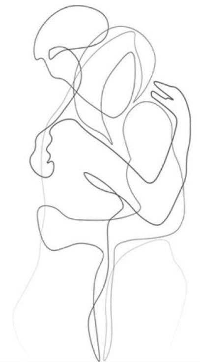 Dibujo de pareja abrazándose
